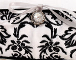 Love Bird Classic Damask Black and White Ring Pillow