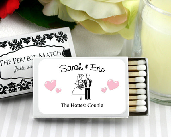 White Personalized Matches (Set of 50) (Many Designs Available) | My Wedding Favors
