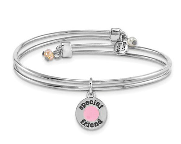 Bridal Special Friend Charm Silver Bracelet Bangle