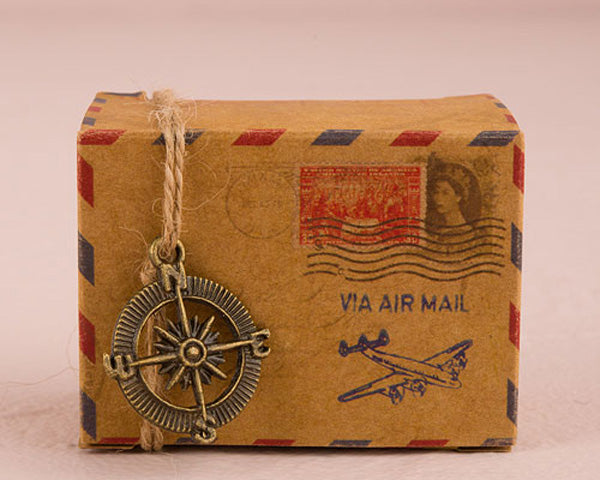 Vintage Inspired Airmail Favor Box Kit (Set of 10)