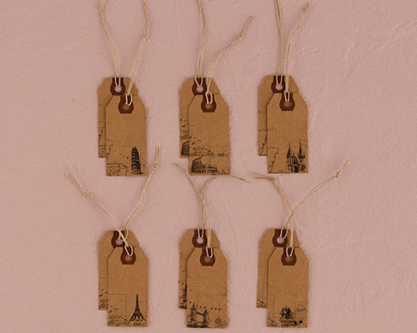 Global Destinations Vintage Paper Shipping Tags with Twine Ties (Set of 12)