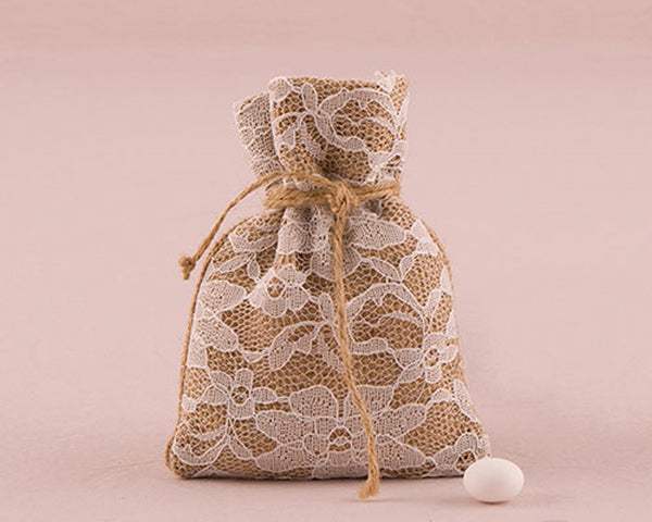 Rustic Burlap And Lace Drawstring Favor Bag (Set of 12) | My Wedding Favors