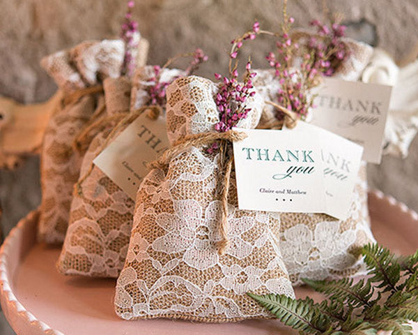 Rustic Burlap And Lace Drawstring Favor Bag (Set of 12)