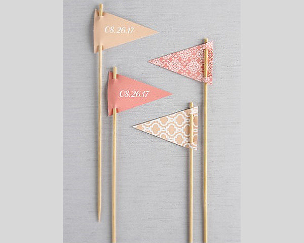 Large Personalized Pennant Toothpicks (Set of 10) (Multiple Colors and Patterns)