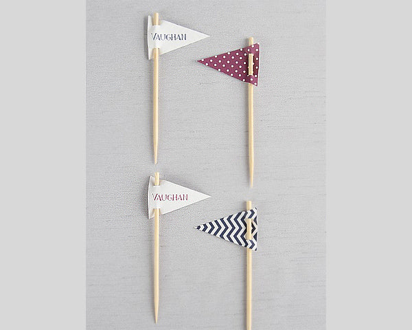 Small Personalized Pennant Toothpicks (Set of 18) (Multiple Colors and Patterns)