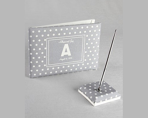 Polka Dot Canvas Guest Book & Penholder