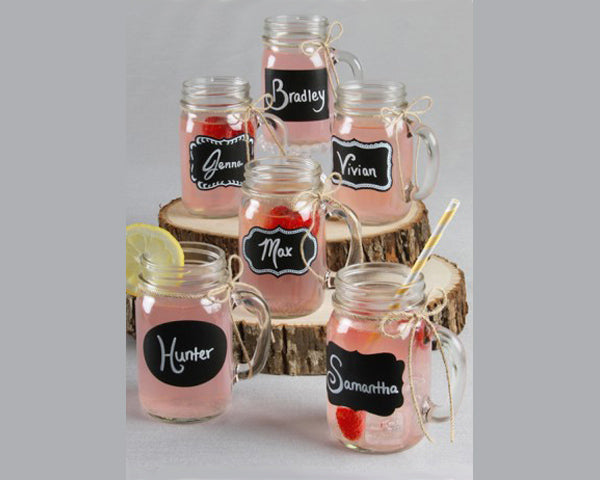 Rustic Mason Jars w/ Chalkboard Stickers and Jute Twine (Set of 12)