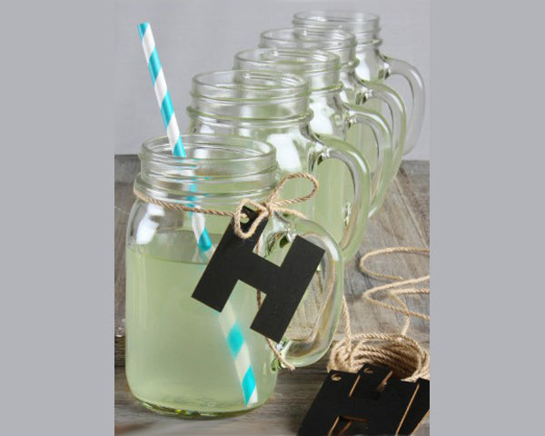 Load image into Gallery viewer, Mason Jars w/ Chalkboard Letter & Jute Twine (Set of 12)