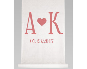 Personalized Initials & Heart Aisle Runner