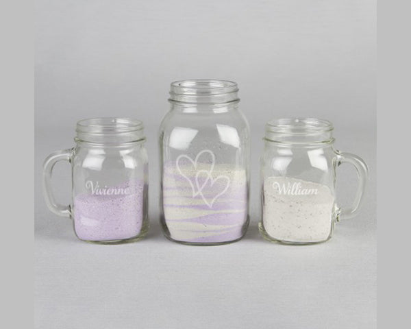 Personalized Double Heart Mugs Sand Ceremony