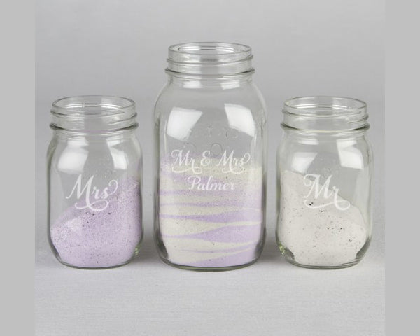 Personalized Last Name Mason Jars Sand Ceremony