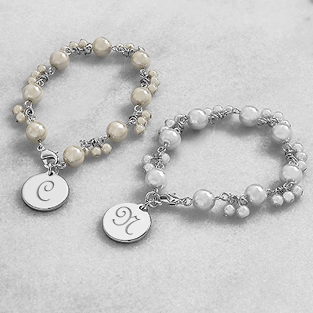 Enchantment Engraved Pearl Bracelet