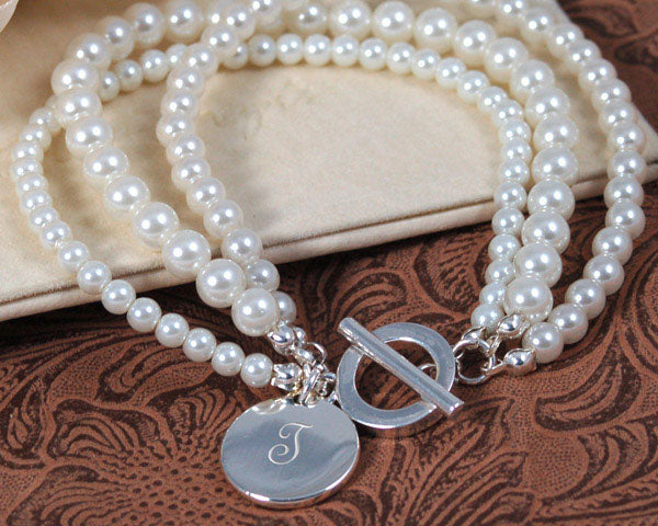 Timeless Beauty Engraved Pearl Bracelet