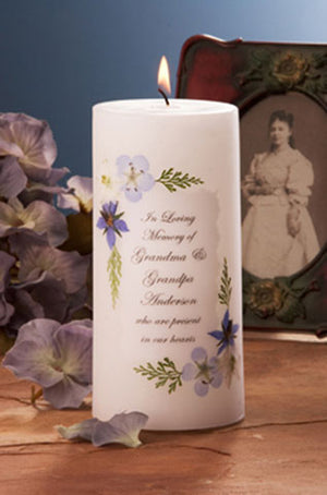 "Blue Bouquet 3"" x 6"" Memorial Candle (White or Ivory)"