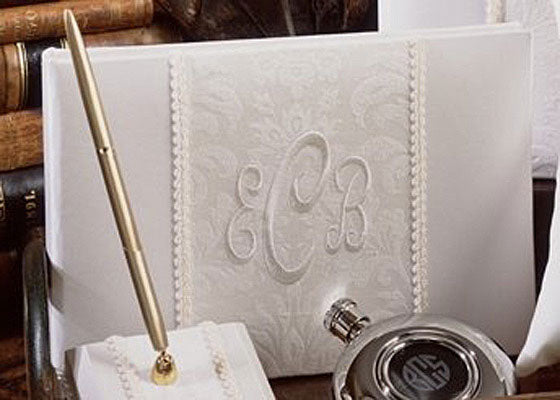 Classic Ivory Monogrammed Brocade Guest Book and Pen Set