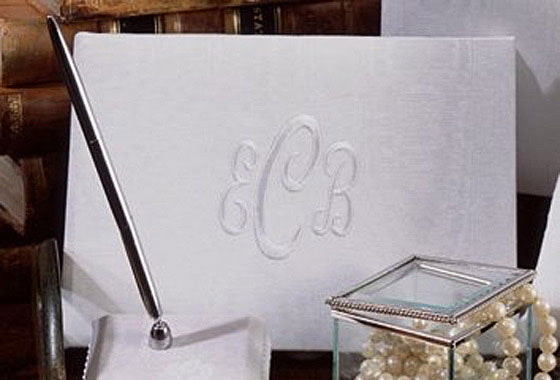 White or Ivory Moire Fabric Monogrammed Guest Book and Pen Set