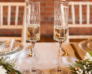 "Personalized ""Best Day Ever"" 8 oz. Contemporary Champagne Flutes (Set of 2)"