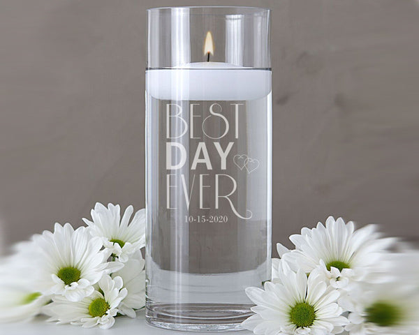 "Personalized ""Best Day Ever"" Floating Unity Candle"