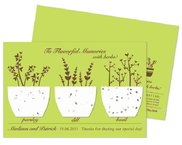 "Personalized Plantable Herb Paper ""Flavorful Memories"" Wedding Favor"