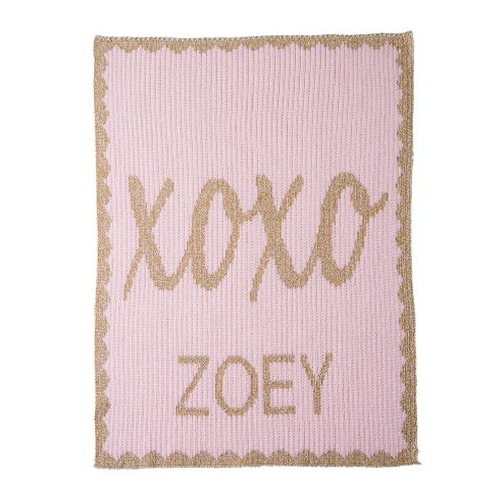Personalized Hugs & Kisses Metallic Blanket (Multiple Colors Available)