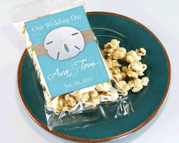 Personalized Beach Themed Caramel Popcorn Wedding Favors