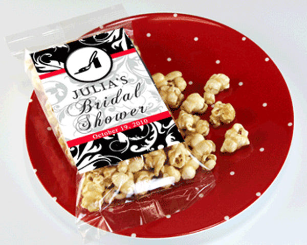 Personalized Caramel Popcorn Bridal Shower Favors