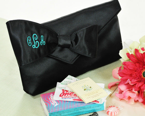 Personalized Bridesmaid Clutch with Survival Kit