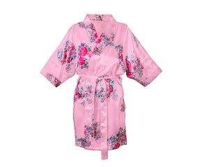Personalized Floral Satin Spa Robe - Pink