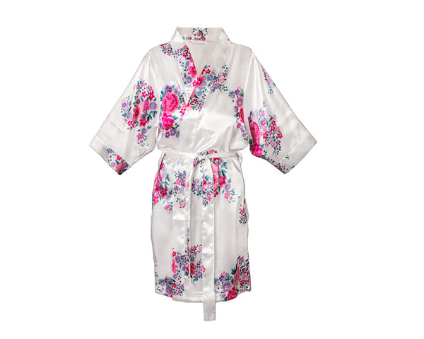 Personalized Floral Satin Spa Robe - White
