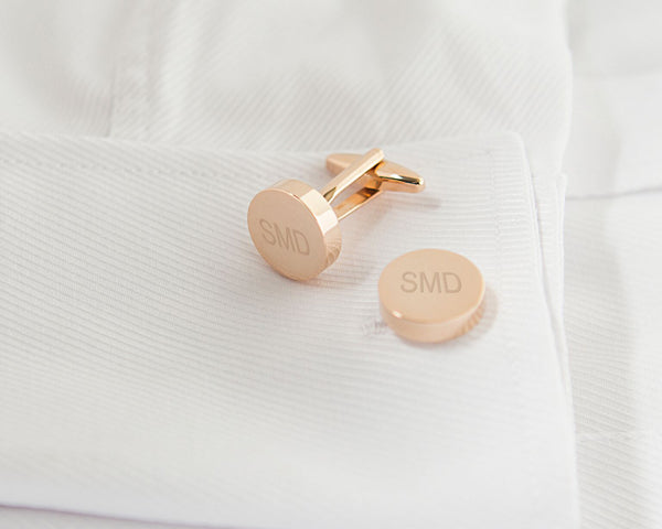 Personalized Round Cuff Links (Multiple Colors Available)