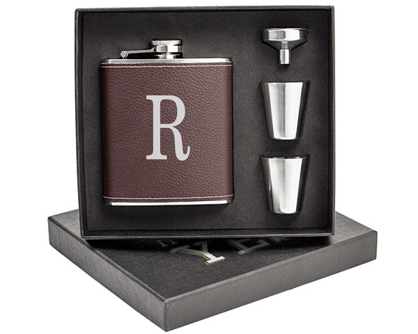 Personalized Brown Leather Wrapped Flask Set