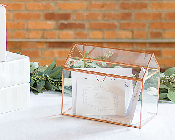 Personalized Glass Terrarium Reception Gift Card Holder (Rose Gold)