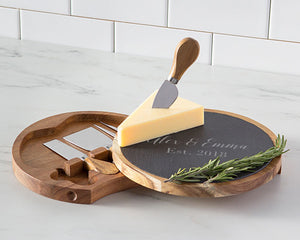 Personalized Acacia & Slate Cheese Board Set with Utensils