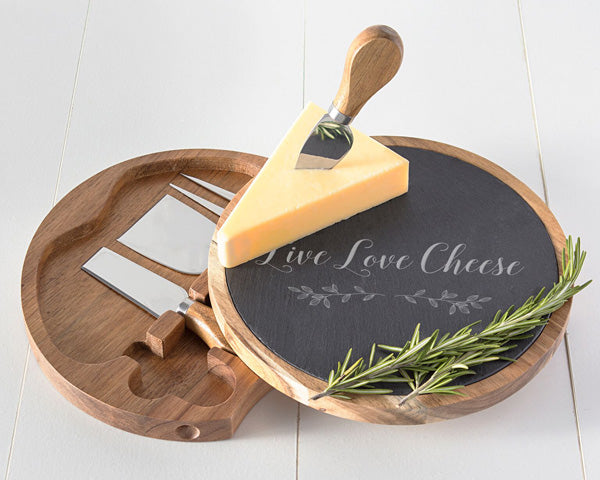 Live Love Cheese Acacia & Slate Cheese Board Set