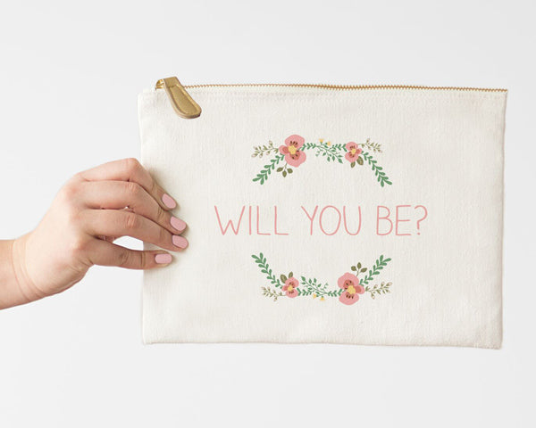 Personalized Floral Canvas Clutch