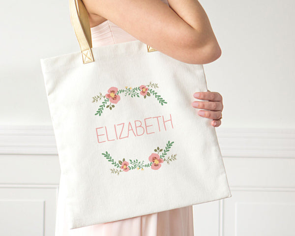 Personalized Floral Canvas Tote