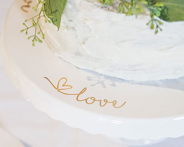 "Gold ""Love"" Cake Stand"
