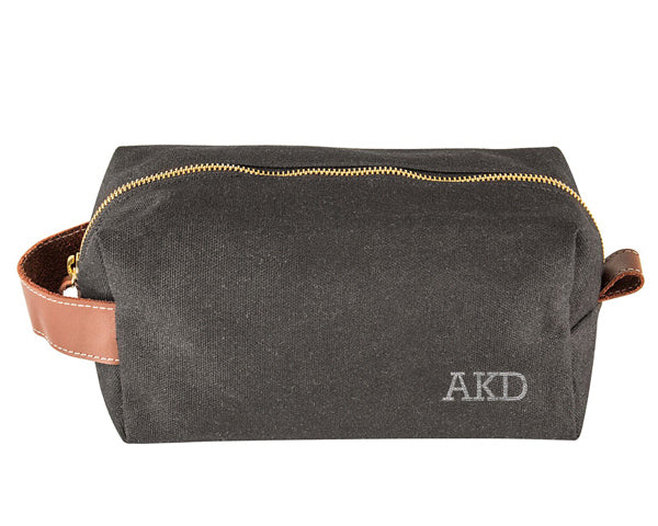 Personalized Waxed Canvas & Leather Toiletry Bag (Multiple Colors Available)