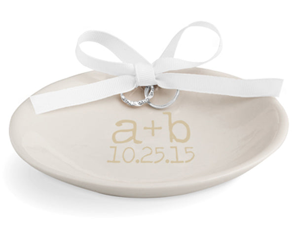 Personalized Keepsake Wedding Ring Dish (Available in Gold & Silver)