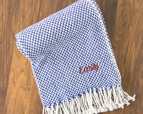 Personalized Herringbone Throw (Multiple Colors Available)