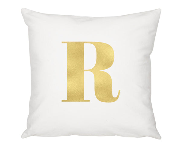 "16"" Gold Foil Initial Throw Pillow"
