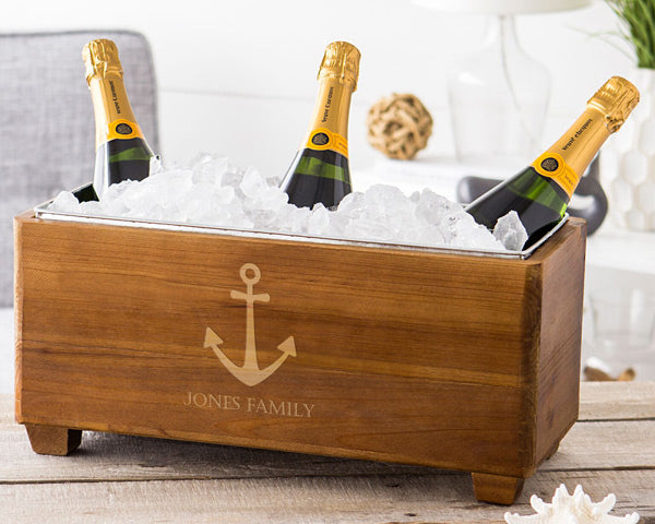 Personalized Anchor Wooden Wine Chest