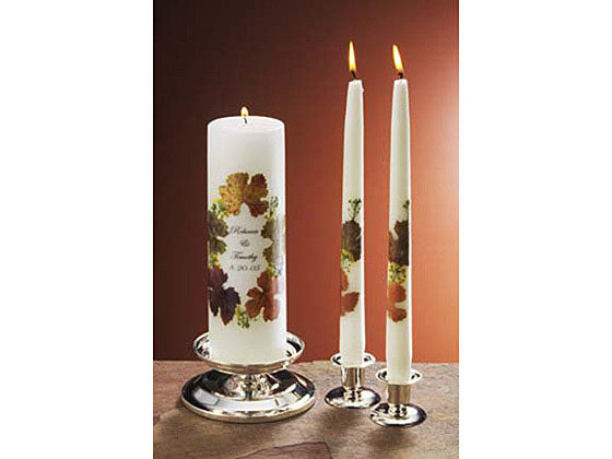 Unity Blossoms - Personalized Unity Candle Set -  Autumn Tones