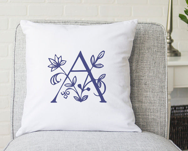 "Personalized 16"" Floral Initial Throw Pillow"