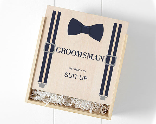 Groomsman Wooden Gift Box - Bow Tie & Suspenders