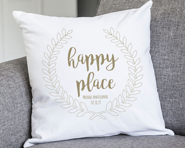 "Personalized 16"" Happy Place Throw Pillow"