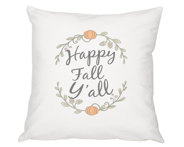 "16"" Happy Fall Y'all Throw Pillow"
