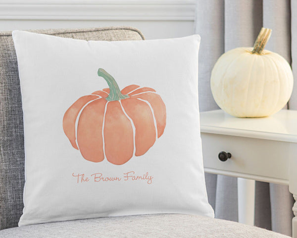 "Personalized 16"" Harvest Pumpkin Throw Pillow"