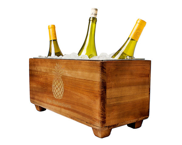 Personalized Pineapple Wooden Wine Chest