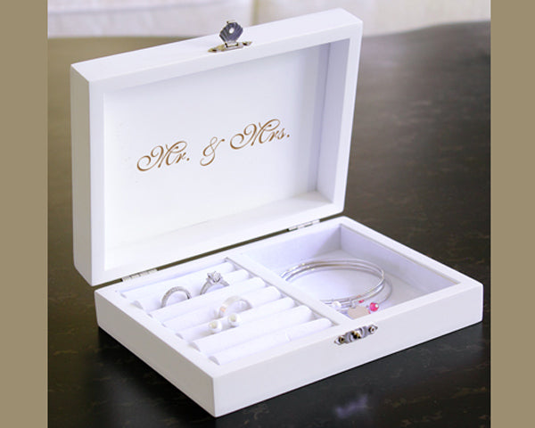 Personalized Mr. & Mrs. Wedding Ring Pillow Keepsake Box